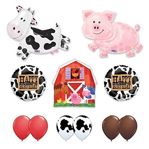 Barn Farm Animals Birthday Party Cow, Pig, Barn Balloons Decorations Supplies by Anagram