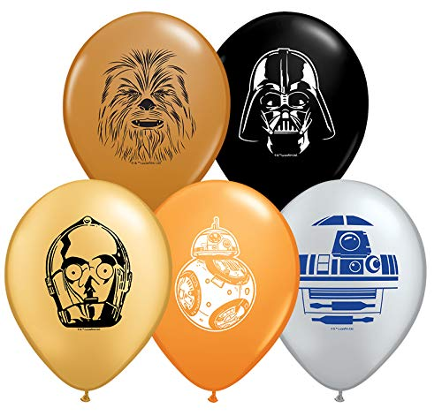 "10pc Star Wars 11"" Character Print Latex Balloons 2 each of Chewbacca, Darth Vader, C3PO, R2D2, BB8"