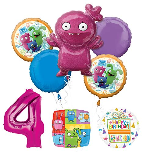 Mayflower Products Ugly Dolls 4th Birthday Party Supplies Balloon Bouquet Decorations