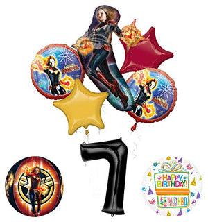 Mayflower Products Captain Marvel 7th Birthday Party Supplies Balloon Bouquet Decorations with 4 Sided Orbz Balloon