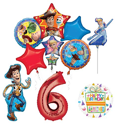 Mayflower Products Toy Story Party Supplies Woody and Friends 6th Birthday Balloon Bouquet Decorations