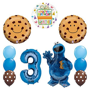NEW! Sesame Street Cookie Monsters 3rd Birthday party supplies and Balloon Decorations
