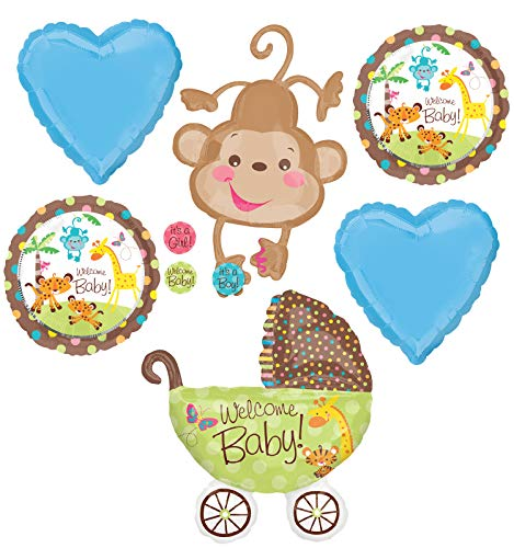 Jungle Safari Welcome Baby Boy Shower Party Supplies Buggy and Monkey Balloon Bouquet Decorations