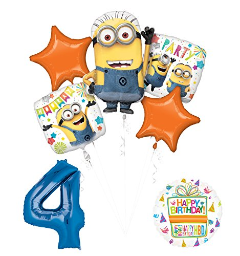 Despicable Me 3 Minions 4th Birthday Party Supplies and balloon Decorations
