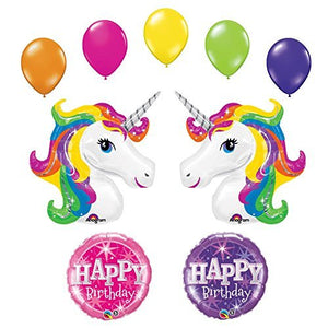 Unicorn 9 pc Rainbow Sparkle Birthday Party Balloon Bouquet by Anagram
