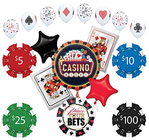 Mayflower Products Casino Night Party Supplies Poker Chips and Cards Balloon Bouquet Decorations