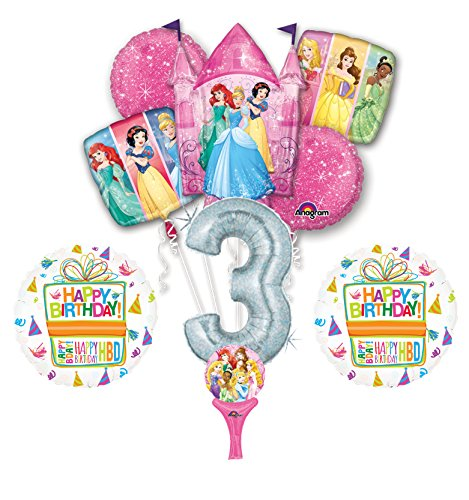 New! 9pc Disney Princess 3rd BIRTHDAY PARTY Balloons Decorations Supplies