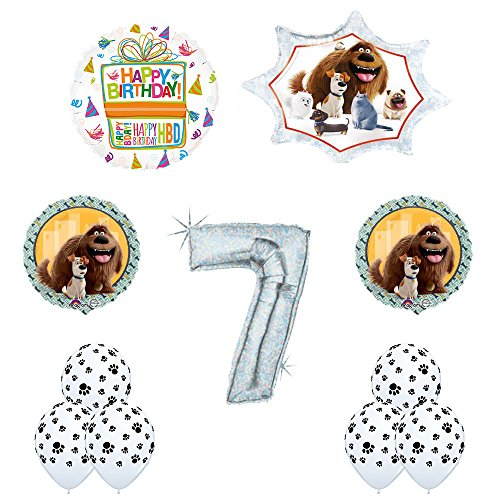 The Secret Life of Pets 7th Holographic Birthday Party Balloon Supply Decorations With Paw Print Latex