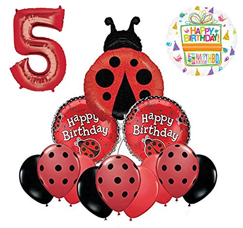 Mayflower Products Ladybug 5th Birthday Party Supplies Balloon Bouquet Decoration