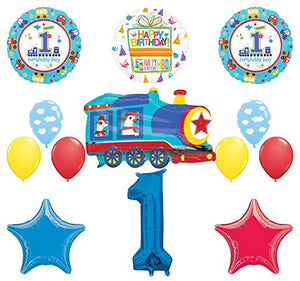 Mayflower Products All Aboard Boys 1st Birthday Party Supplies Balloon Bouquet Decoration