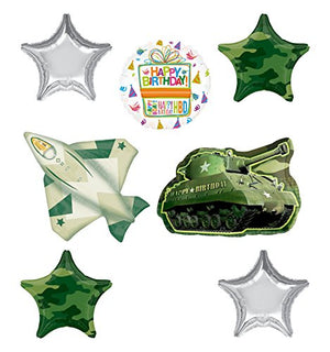 Army Tank and Jet Fighter Party Supplies Birthday Balloon Bouquet