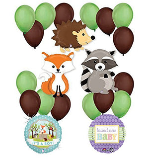 Woodland Critters Creatures Baby Boy Baby Shower Party Supplies
