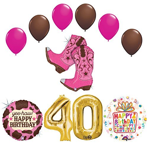 Wild West Cowgirl Boots Western 40th Birthday Party Supplies and Balloons Decorations