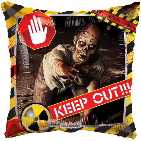 "18"" Zombie Crawling Caution KEEP OUT Square Foil Balloon (Image Shown Same On Both Sides)"