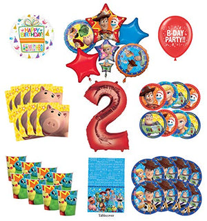Toy Story 2nd Birthday Party Supplies 8 Guest Decoration Kit with Woody, Buzz Lightyear and Friends Balloon Bouquet