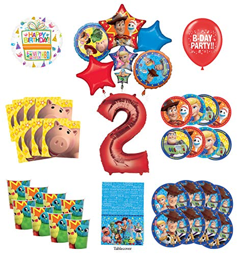 Toy Story 2nd Birthday Party Supplies 16 Guest Decoration Kit with Woody, Buzz Lightyear and Friends Balloon Bouquet