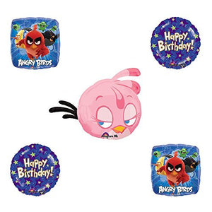 Angry Birds Pink Bird Birthday Balloon Bouquet Decoration supplies