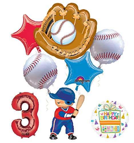 Baseball Player 3rd Birthday Party Supplies Balloon Bouquet Decorations