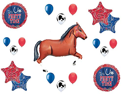 Western Theme Birthday Party Supplies Bandana Hoedown Rodeo Balloon Bouquet Decorations with Brown Horse