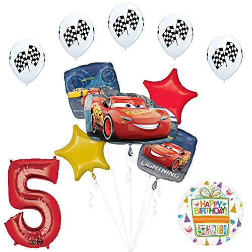 Disney Cars 3 Lighting McQueen 5th Birthday Party Supplies and Balloon Decorations