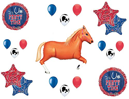 Western Theme Birthday Party Supplies Bandana Hoedown Rodeo Balloon Bouquet Decorations with Tan Horse