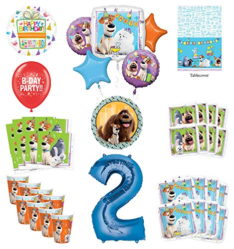 Secret Life of Pets 2nd Birthday Party Supplies 8 Guest kit and Balloon Bouquet Decorations - Blue Number 2