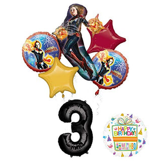 Mayflower Products Captain Marvel Party Supplies 3rd Birthday Balloon Bouquet Decorations