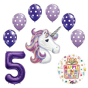 Lavender Unicorn Polka Dot Latex Rainbow 5th Birthday Party Balloon supplies and decorations