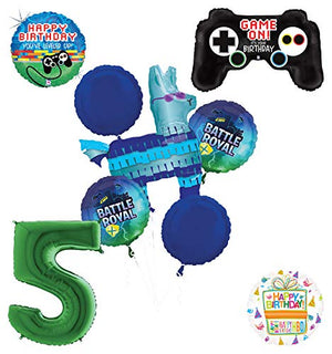 Mayflower Products Battle Royal 5th Birthday Party Supplies Balloons Bouquet Decorations - Green Number 5