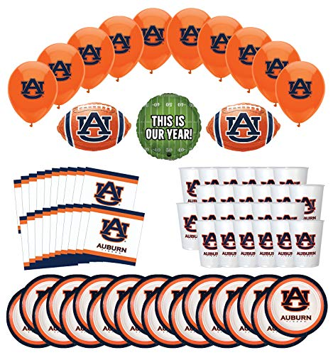 Mayflower Products Auburn Tigers Football Tailgating Party Supplies for 20 Guest and Balloon Bouquet Decorations