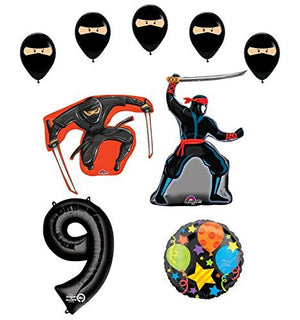 Ninja 9th Birthday Party Supplies and Balloon Decorations
