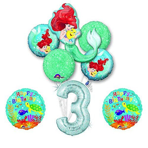 NEW! Ariel Little Mermaid Disney Princess Undersea 3rd BIRTHDAY PARTY Balloon decorations supplies
