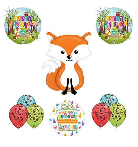 Woodland Creatures Birthday Party Supplies Baby Shower Fox Balloon Bouquet Decorations