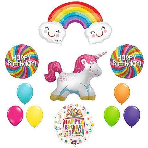 The Ultimate Rainbow Swirl Happy Birthday Full Body Unicorn Party Supplies and Balloon decorations