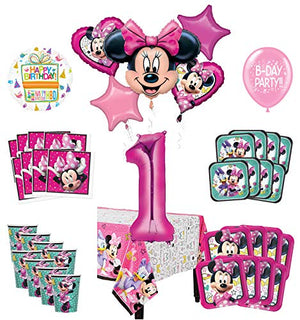 Mayflower Products Minnie Mouse and Friends 1st Birthday Party Supplies 8 Guest Decoration Kit and Balloon Bouquet