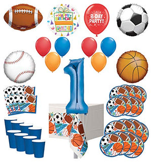 Mayflower Products Sports Theme 1st Birthday Party Supplies 8 Guest Entertainment kit and Balloon Bouquet Decorations - Blue Number 1