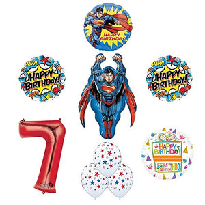 Superman 7th Birthday Party Supplies and Balloon Decorations