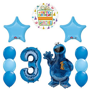Sesame Street Cookie Monsters 3rd Birthday party supplies and Balloon Decorations