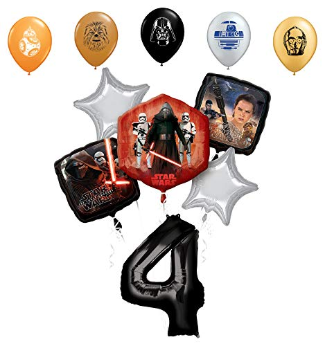 Star Wars 4th Birthday Party Supplies Foil Balloon Bouquet Decorations with 5pc Star Wars 11