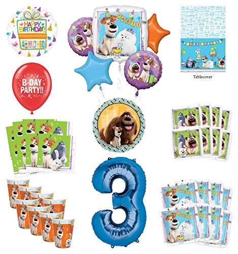 Secret Life of Pets 3rd Birthday Party Supplies 8 Guest kit and Balloon Bouquet Decorations - Blue Number 3