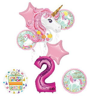 "Unicorn Party Supplies ""Believe In Unicorns"" 2nd Birthday Balloon Bouquet Decorations"