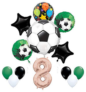 Mayflower Products Soccer Party Supplies 8th Birthday Girls Goal Getter Balloon Bouquet Decorations - Rose Gold 8