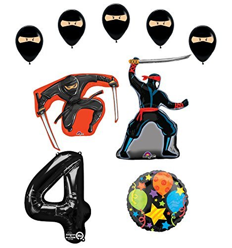 Ninja 4th Birthday Party Supplies and Balloon Decorations