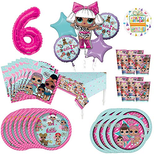 L.O.L. Surprise! 6th Birthday Party Supplies 8 Guest Decoration Kit and Balloon Bouquet