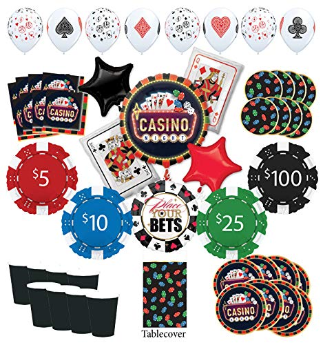 Mayflower Products Casino Night Party Supplies 8 Guest kit and Poker Chips Balloon Bouquet Decorations