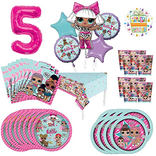 L.O.L. Surprise! 5th Birthday Party Supplies 8 Guest Decoration Kit and Balloon Bouquet