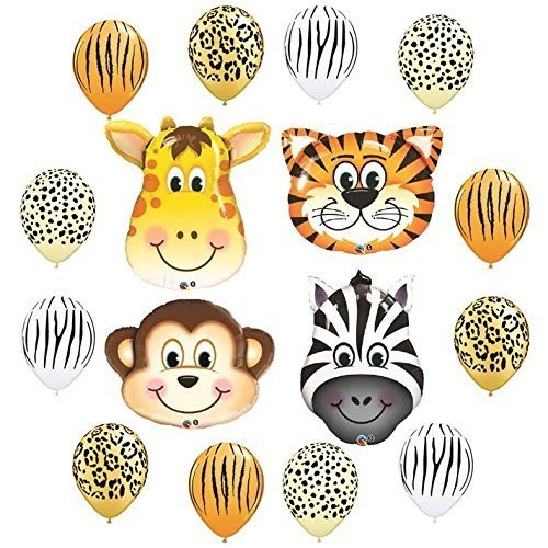 Safari Jungle Zoo Animals Jumbo Balloons Zebra, Tiger, Giraffe & Monkey and 12 pc Safari 11