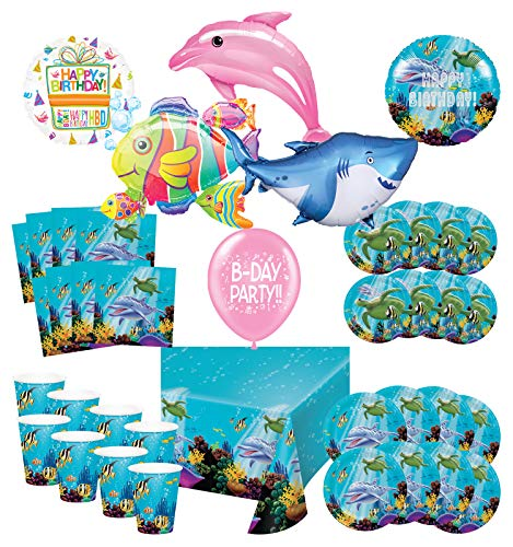Mayflower Products Under The Sea Birthday Party Supplies 8 Guest Entertainment kit and Ocean Animals Balloon Bouquet Decorations