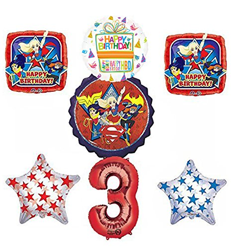 DC Super Hero Girls 3rd Birthday Party Supplies and Balloon Decorations