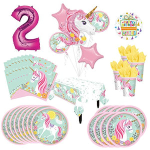 Magical Unicorn Party Supplies 8 Guests 2nd Birthday Balloon Bouquet Decorations